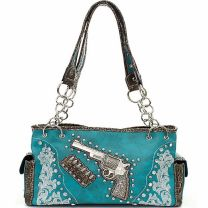 Concealed Carry Six Shooter Purse with Rhinestones