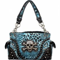 CONCEALED CARRY HANDBAG WITH SKULL AND CROSSBONES w/ANIMAL PRINT