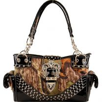 Concealed Carry Rhinestone Buckle Mossy Oak Camo Handbag