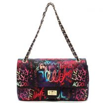 GP739Q MULTI GRAFFITI PRINT QUILTED LARGE CLASSIC SHOULDER BAG~BLACK