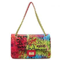 GP739Q MULTI GRAFFITI PRINT QUILTED LARGE CLASSIC SHOULDER BAG~BLUE/FUCHSIA