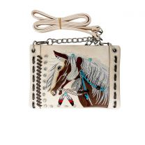 2020W193 WESTERN HORSE EMBROIDERY MINI CROSSBODY BAG BEIGE