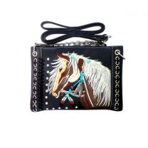 2020W193 WESTERN HORSE EMBROIDERY MINI CROSSBODY BAG BLACK