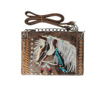 2020W193 WESTERN HORSE EMBROIDERY MINI CROSSBODY BAG BROWN