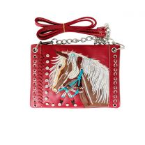 2020W193 WESTERN HORSE EMBROIDERY MINI CROSSBODY BAG RED