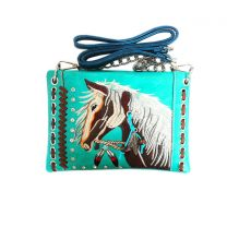 2020W193 WESTERN HORSE EMBROIDERY MINI CROSSBODY BAG TURQUOISE