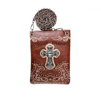 2030W191LCR WESTERN CROSS EMBROIDERY HIPSTER/CELL PHONE BAG BROWN