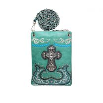 2030W191LCR WESTERN CROSS EMBROIDERY HIPSTER/CELL PHONE BAG TURQUOISE