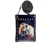 2030W193 WESTERN HORSE EMBROIDERY HIPSTER/CELL PHONE BAG BLACK