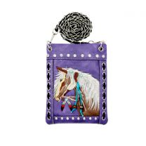 2030W193 WESTERN HORSE EMBROIDERY HIPSTER/CELL PHONE BAG PURPLE