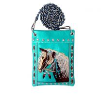 2030W193 WESTERN HORSE EMBROIDERY HIPSTER/CELL PHONE BAG TURQUOISE