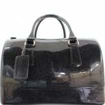 CANDY / JELLY BOSTON BAG WITH GLITTER TEXTURE