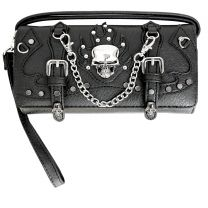 2066SK9 BIKER SKULL COLLECTION WRISTLET WALLET w/LONG STRAP~BLACK