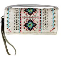 2066W160 WESTERN EMBROIDERED COLLECTION WRISTLET WALLET w/LONG STRAP~BEIGE