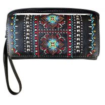 2066W160 WESTERN EMBROIDERED COLLECTION WRISTLET WALLET w/LONG STRAP~BLACK