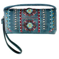 2066W160 WESTERN EMBROIDERED COLLECTION WRISTLET WALLET w/LONG STRAP~BLUE JEANS