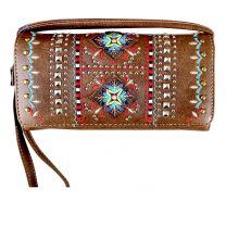 2066W160 WESTERN EMBROIDERED COLLECTION WRISTLET WALLET w/LONG STRAP~BROWN