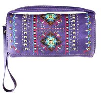 2066W160 WESTERN EMBROIDERED COLLECTION WRISTLET WALLET w/LONG STRAP~PURPLE