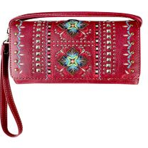 2066W160 WESTERN EMBROIDERED COLLECTION WRISTLET WALLET w/LONG STRAP~RED