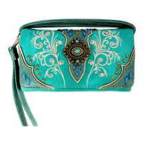 2066W192 WESTERN CONCHO EMBROIDERY WRISTLET WALLET w/LONG STRAP TURQUOISE