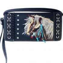 2066W193 WESTERN HORSE EMBROIDERY WRISTLET WALLET w/LONG STRAP BLACK