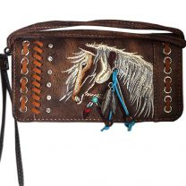 2066W193 WESTERN HORSE EMBROIDERY WRISTLET WALLET w/LONG STRAP BROWN