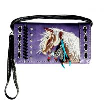 2066W193 WESTERN HORSE EMBROIDERY WRISTLET WALLET w/LONG STRAP PURPLE