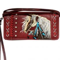 2066W193 WESTERN HORSE EMBROIDERY WRISTLET WALLET w/LONG STRAP RED
