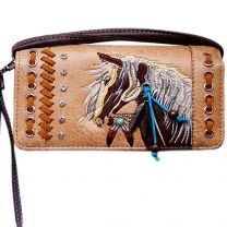 2066W193 WESTERN HORSE EMBROIDERY WRISTLET WALLET w/LONG STRAP TAN