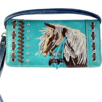 2066W193 WESTERN HORSE EMBROIDERY WRISTLET WALLET w/LONG STRAP TURQUOISE