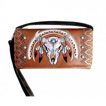 2066W208 WESTERN SOUTHWEST STEER SKULL EMBROIDERED WRISTLET WALLET w/LONG STRAP~BROWN
