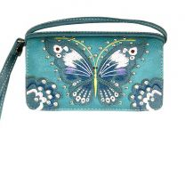 2066W209 BUTTERFLY EMBROIDERED WRISTLET WALLET w/LONG STRAP~TURQUOISE
