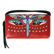 2066W184 DRAGON FLY EMBROIDERY WRISTLET WALLET w/LONG STRAP RED