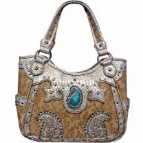 Concealed Carry Western Paisley Turquoise Stone Shoulder Bag