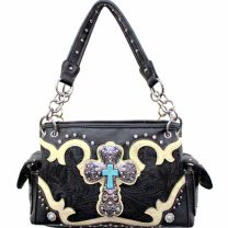 Concealed Carry Western Tooled Turquoise Cross Handbag