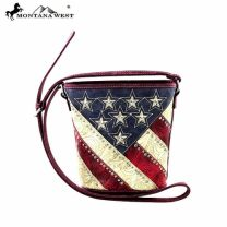 US07-8287 Beige Montana West American Pride Bucket Shaped Crossbody
