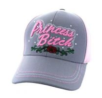 VM209-02 Princess Bitch Cotton Velcro Cap (Light Grey & Light Pink)