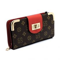 CS041 DESIGNER INSPIRED TURN-LOCK ACCENT SIGNATURE WALLET w/LONG STRAP~BROWN/RED