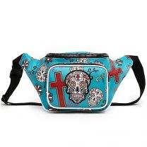 SKU4-100 Sugar Skull Fanny Pack Waist Bag