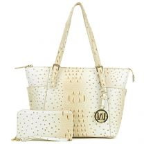 OS1009W OSTRICH EMBOSSED TOTE w/MATCHING WALLET~BEIGE
