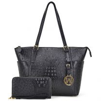 OS1009 OSTRICH EMBOSSED TOTE w/MATCHING WALLET~BLACK