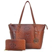OS1009W OSTRICH EMBOSSED TOTE w/MATCHING WALLET~TAN