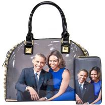 PA0037-1 The Obamas Décor Magazine Cover Rhinestone Studded Bowler 2IN1 Set