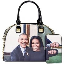 PA0037-3 The Obamas Décor Magazine Cover Rhinestone Studded Bowler 2IN1 Set