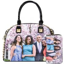 PA0037-5 The Obamas Décor Magazine Cover Rhinestone Studded Bowler 2IN1 Set