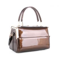 87853 PATENT FAUX LEATHER FRAMED SATCHEL BROWN