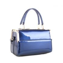 87853 PATENT FAUX LEATHER FRAMED SATCHEL NAVY
