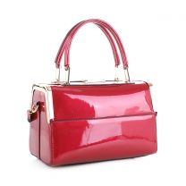 87853 PATENT FAUX LEATHER FRAMED SATCHEL RED