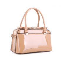 87854 PATENT FAUX LEATHER JEWEL-TOP FRAME SATCHEL ALMOND