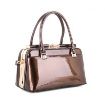 87854 PATENT FAUX LEATHER JEWEL-TOP FRAME SATCHEL BROWN